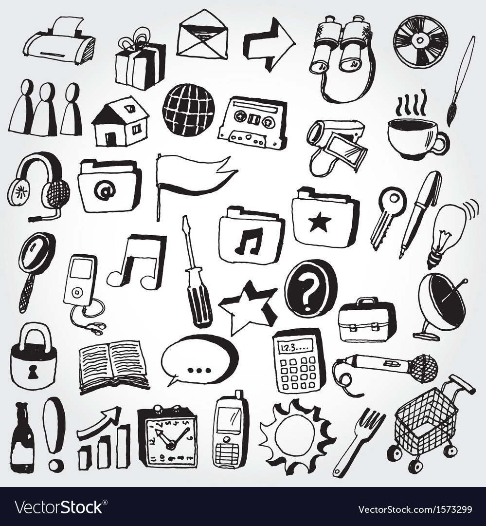 Doodled icons2 vector | Price: 1 Credit (USD $1)