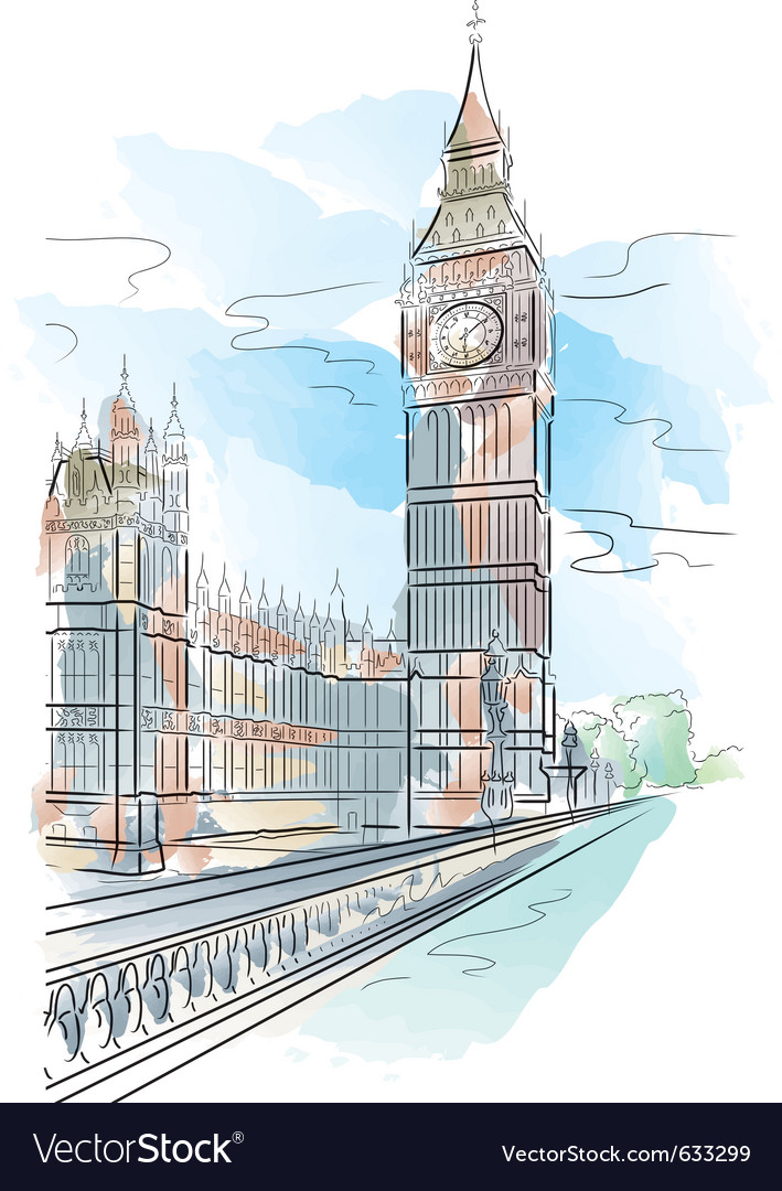 Drawing color big ben of tower in london uk vector | Price: 1 Credit (USD $1)