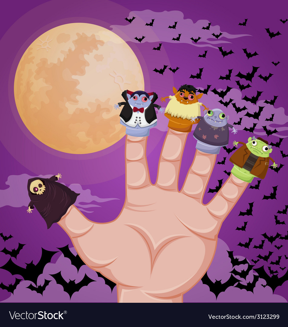 Five finger monsters halloween vector | Price: 1 Credit (USD $1)