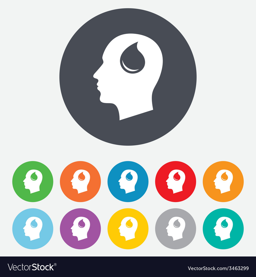 Head with drop sign icon male human head vector | Price: 1 Credit (USD $1)