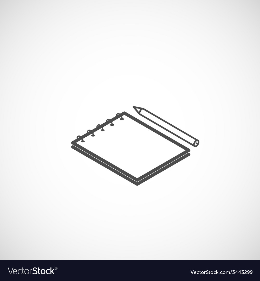 Isometric icon of notepad and pencil vector | Price: 1 Credit (USD $1)