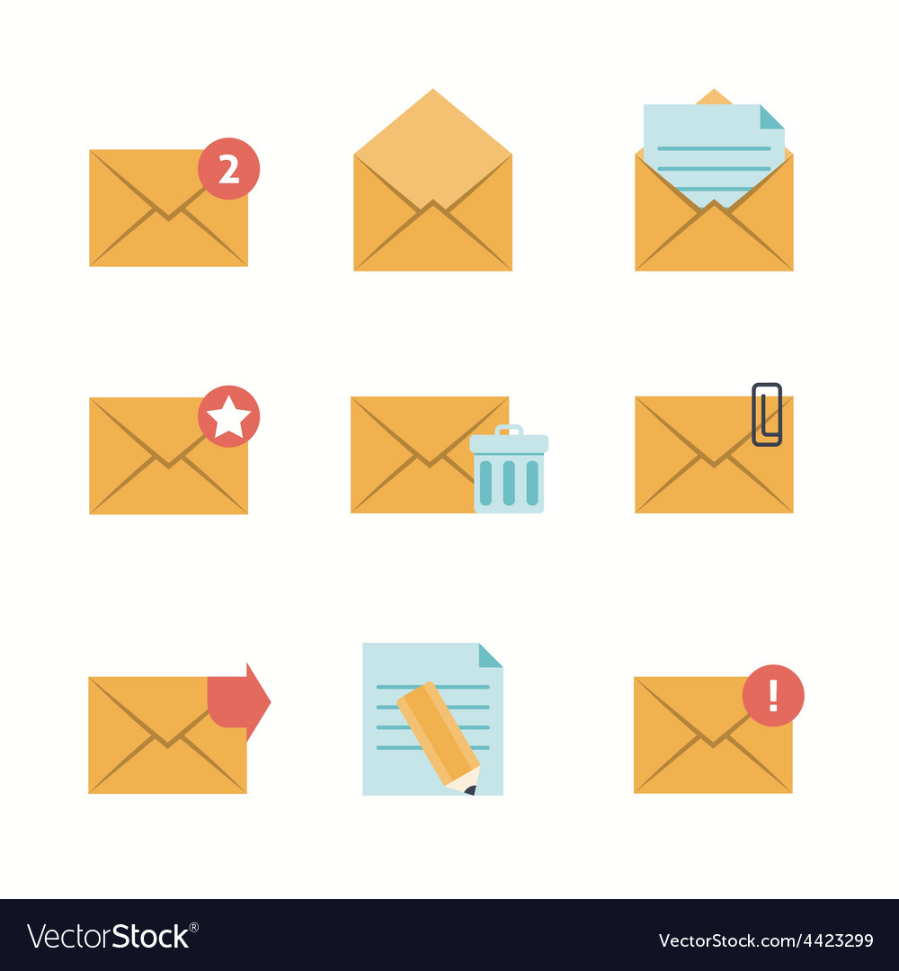 Message icons flat vector | Price: 1 Credit (USD $1)