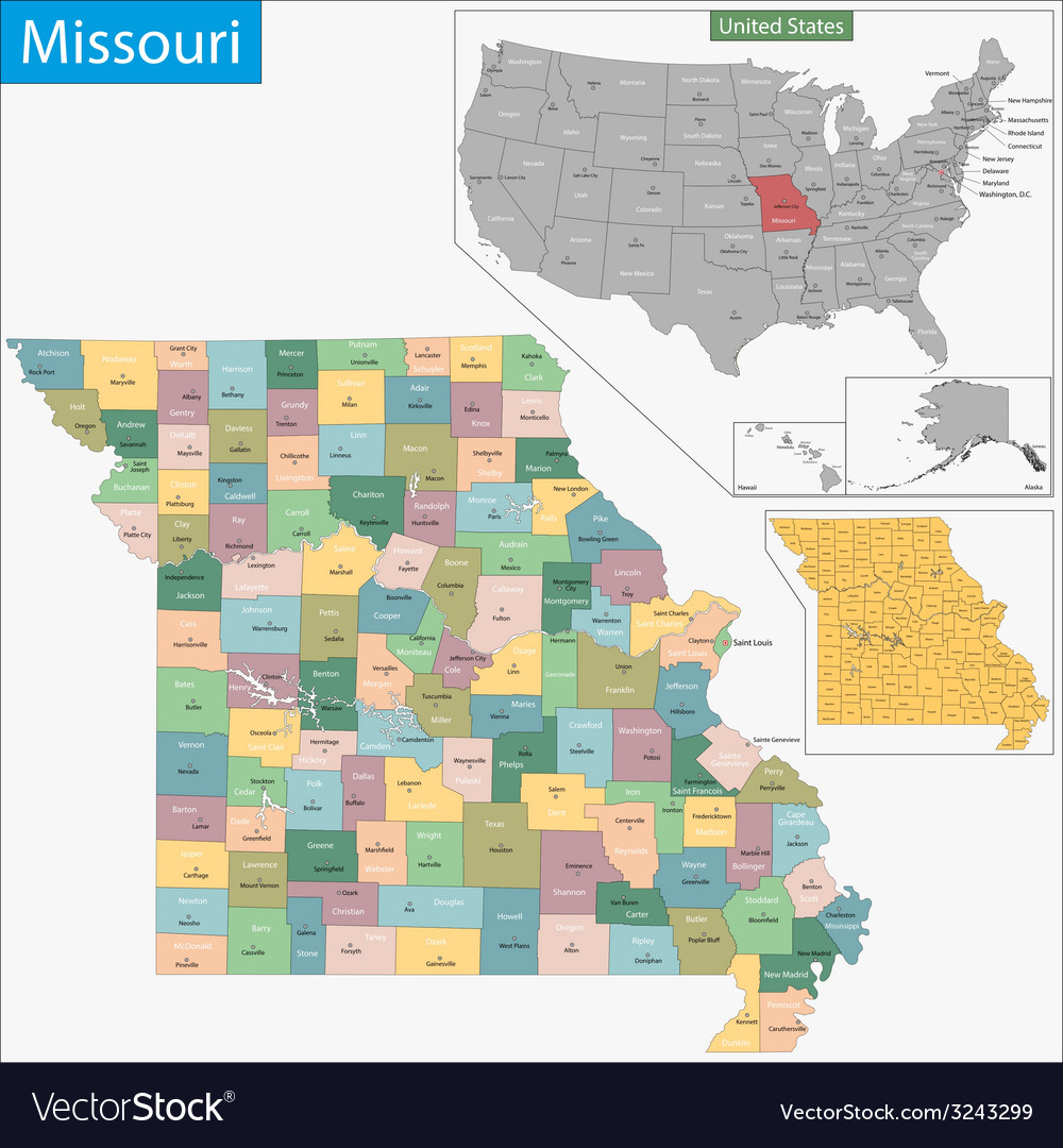 Missouri map vector | Price: 1 Credit (USD $1)