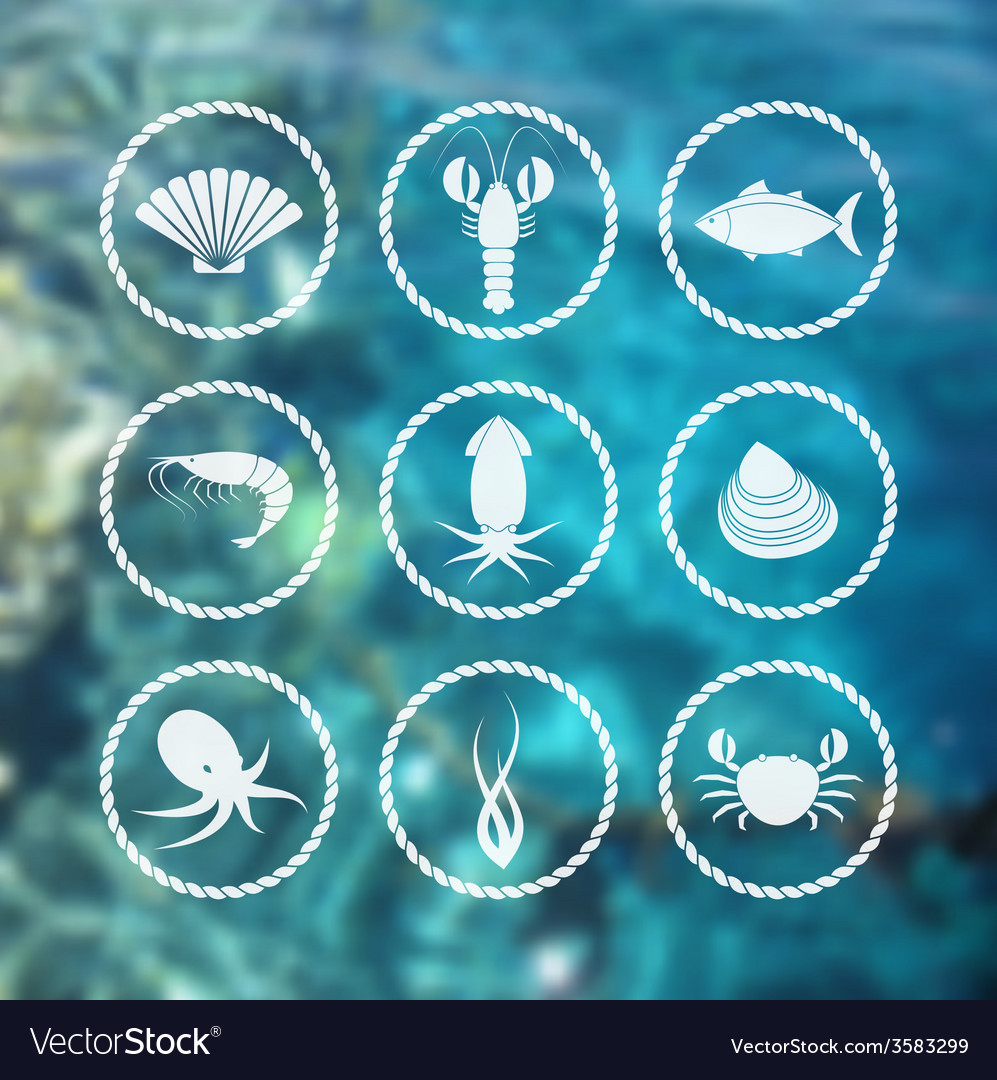 Seafood icons set on blur background vector | Price: 1 Credit (USD $1)