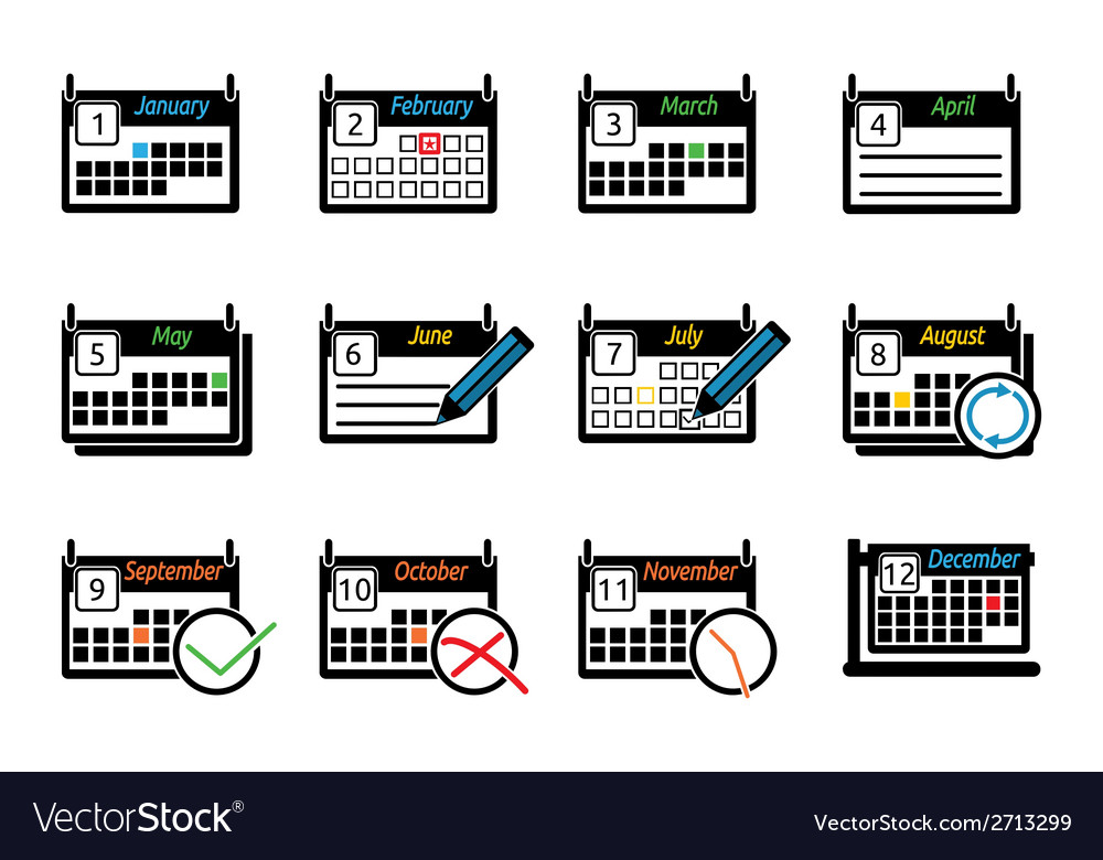 Set of icons calendars vector | Price: 1 Credit (USD $1)