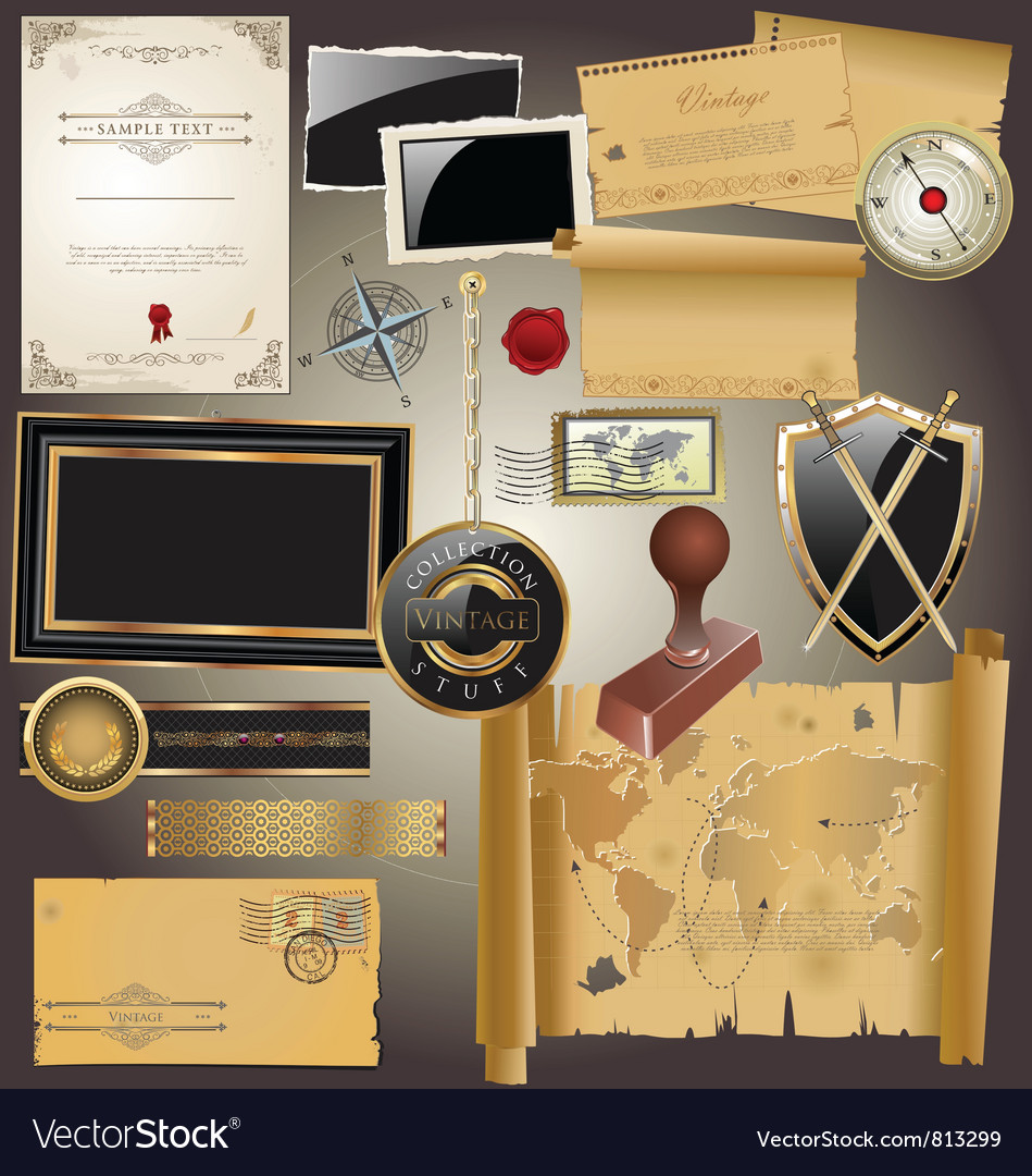 Vintage stuff collection vector | Price: 3 Credit (USD $3)