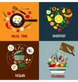 Colorful flat food poster designs vector