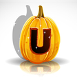 Happy halloween font cut out pumpkin letter u vector