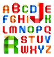 Font folded from colored paper - roman alphabet vector