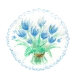 Watercolor bouquet of blue tulips vector