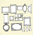 Doodle ornaments photo frames on paper vector