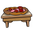 Table with strawberry pie vector