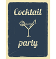 Cocktail party retro poster blue vector