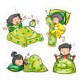 Boy and girl in bed vector