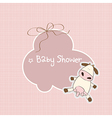 New baby announcement card with cow vector