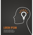 Human head thinking a new idea on black background vector