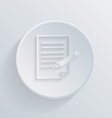 Flat circle icon with a shadow sheet of paper vector