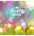 Easter bokeh background with eggs on meadow vector