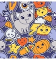 Seamless halloween kawaii pattern with sticker vector