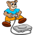 Bear kid playing console game vector
