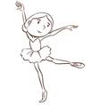 A plain drawing of a ballerina vector