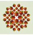 Red mandala gift background vector