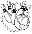 Doodle bowling earth vector