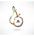 Pear and apple grunge icon vector