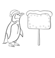 Penguin with christmas poster outline vector