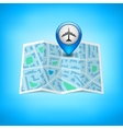 City map with label pin isolated vector
