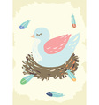 Bird nest with mother bird vector