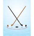 Ice hockey sticks puck on ice rink vector