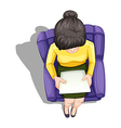 A topview of a woman reading while sitting down vector