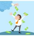 Businessman character under money rain vector
