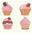 Set cute background with small cupcake vector