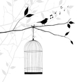 Singing bird on tree branch with birdcage vector