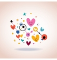 Abstract art with cute cartoon hearts and dots vector