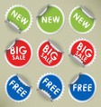 Set of colored round stickers vector