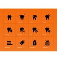 Teeth icons on orange background vector