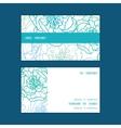Blue line art flowers horizontal stripe frame vector