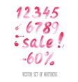 Numbers and sale set hand drawn letters vector