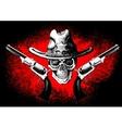 Skull with revolver vector