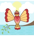 Fantastic bird on a branch vector