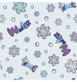 Seamless winter pattern with snowflakes and snow vector