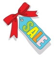 Sale label with colored letters and a red bow vector