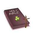 Holy bible with wooden cross and clover vector