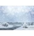 Watercolor snowy landscape vector