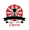 Darts emblem with trophy cup vector