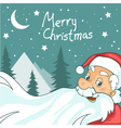 Cute cartoon santa claus on christmas background vector