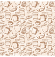 Seamless sketchy doodle style coffee cups and mugs vector